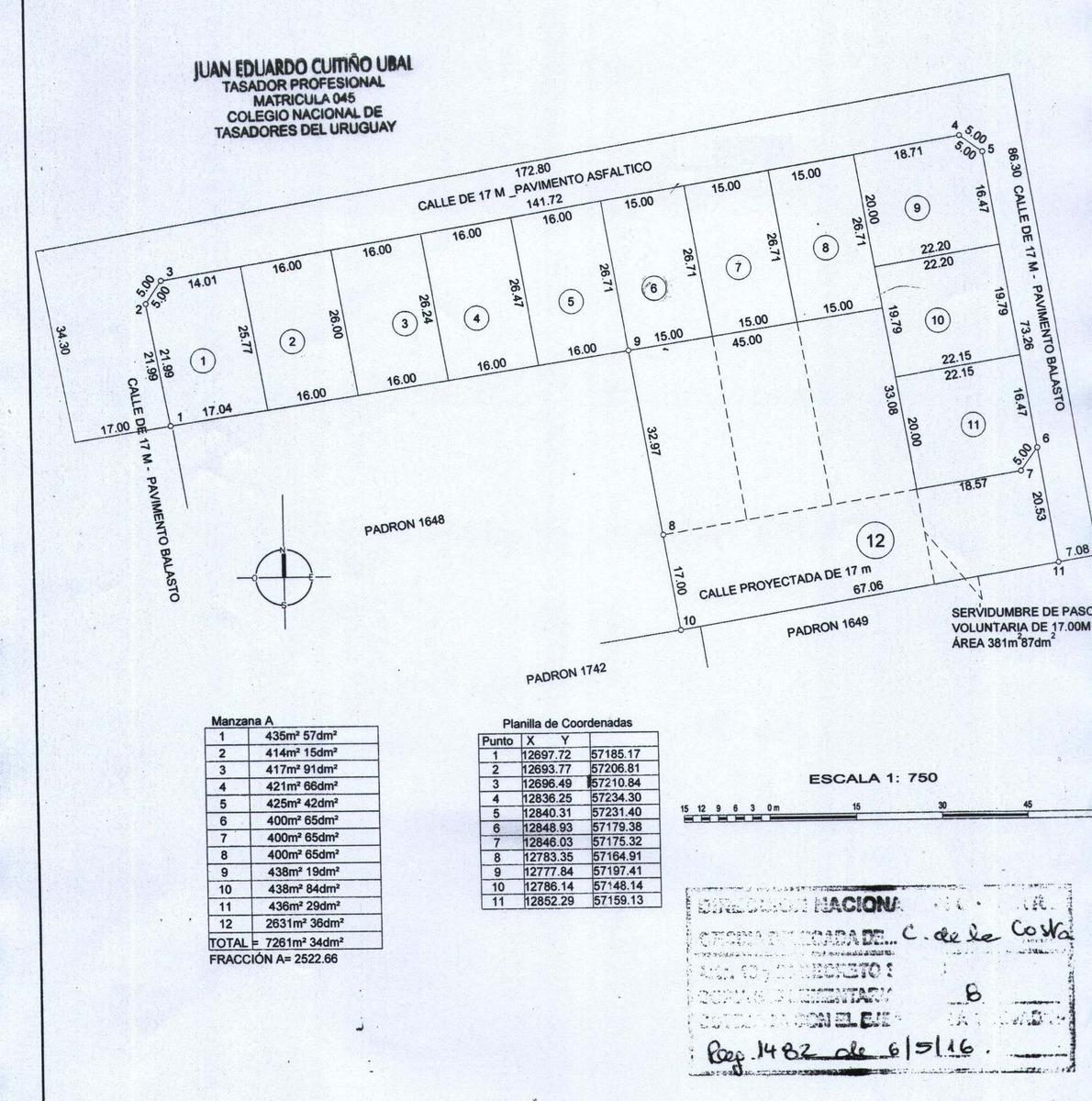 terrenos en tala 400 a 440 mt2.financio
