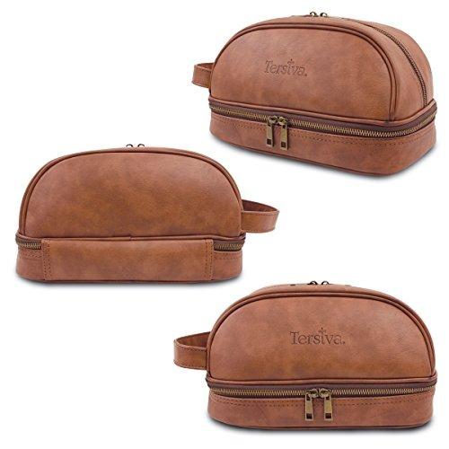 tersiva leather toiletry bag para hombres mujer unisex (dopp