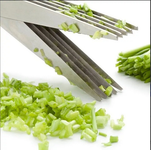 tesoura inox 5 cortes verduras legumes cozinha alimentos
