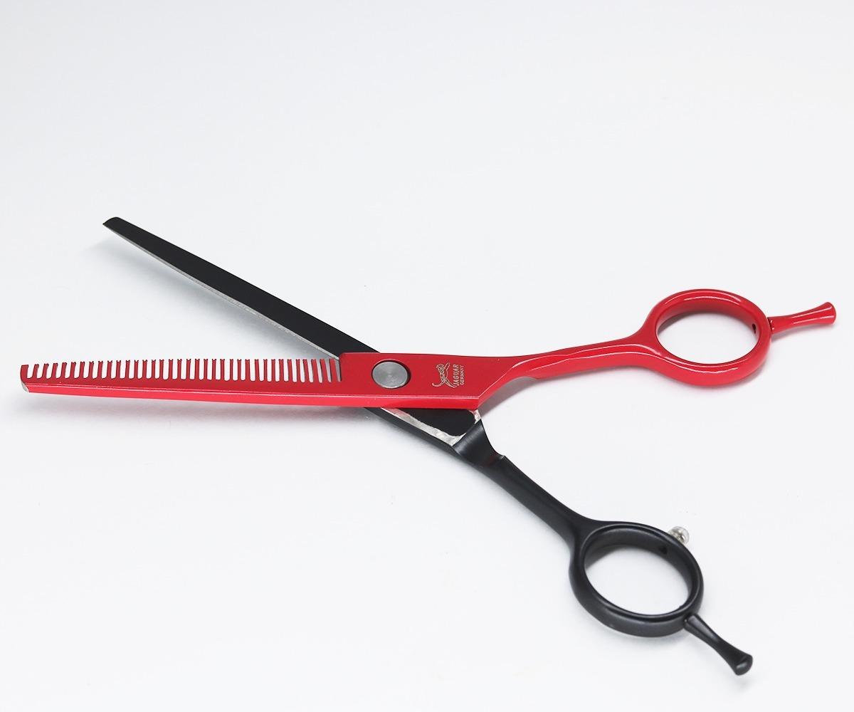 35ab3baac tesoura jaguar desbaste barbeiro cabeleireiro preta/verm 6.0. Carregando  zoom.