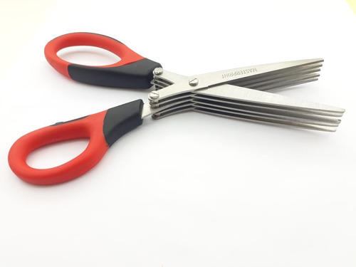 tesoura para cortar temperos ervas c/ 5 lâminas retas