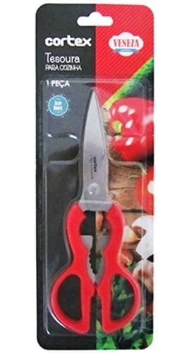 tesoura para cozinha inox veneza 21cm cabo - vermelho