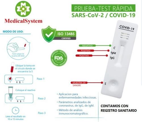 test rapidos covid19 / pruebas / aprobadas fda y reg. sanit.