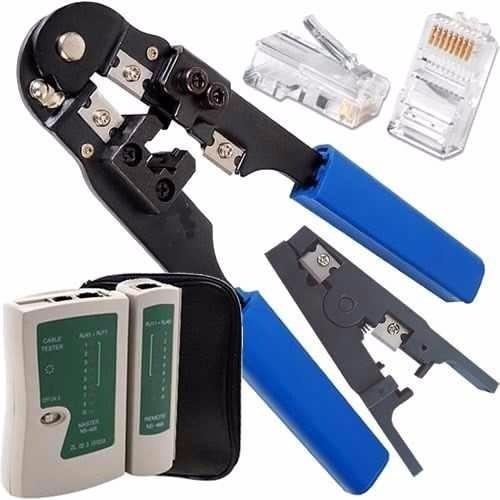 testador cabo rede alicate crimpar rj45 decapador + 30 plug