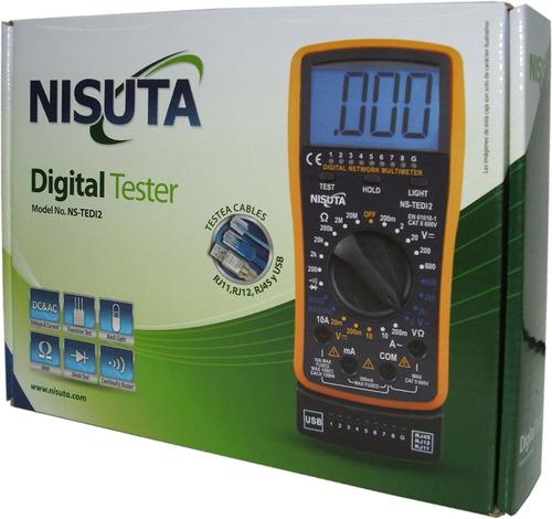tester multimetro digital profesional redes luz cable