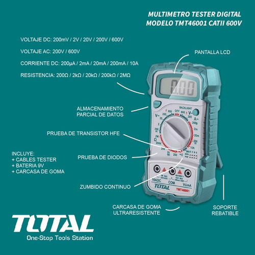 tester multimetro total tools cat2 600v carcasa goma soporte