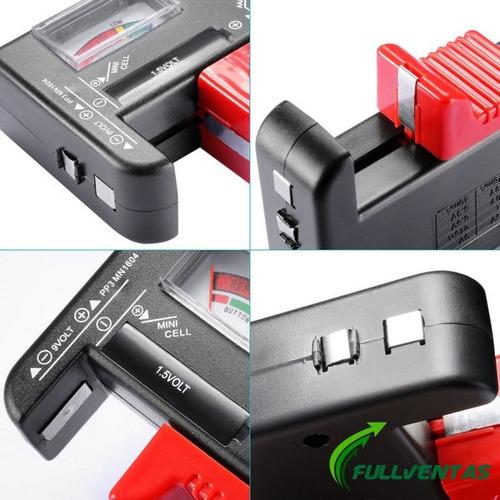 tester para pilas  aa-aaa-c-d 1.5 volt y 9 volt blister