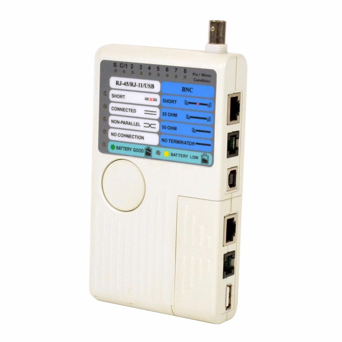 Tester Probador Cable Red Utp Rj45 Rj11 Usb Bnc Coaxial
