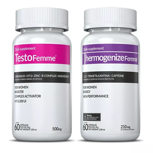 testofemme 500mg + thermogenize femme 60 caps inove