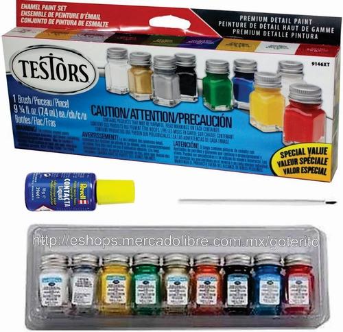 testors combo pinturas esmalte pegamento pincel modelo hobby