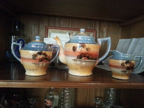 tetera cafetera antigua china pintada a mano