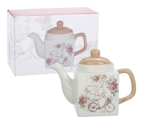 tetera de ceramica linea holiday color rosa 520ml