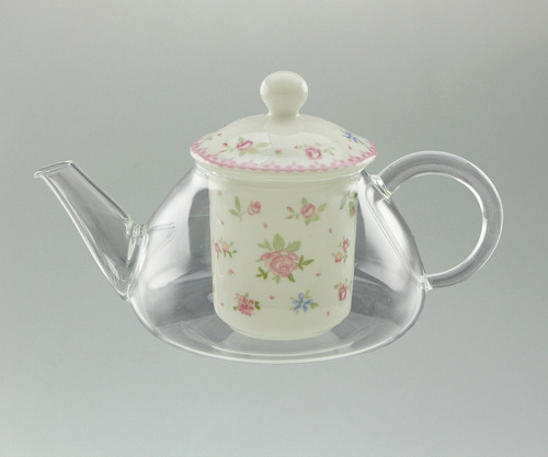 tetera de vidrio con infusor de porcelana diseño flores
