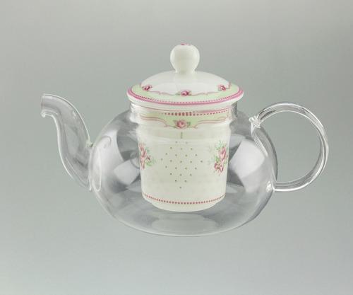 tetera de vidrio con infusor de porcelana diseño rosas