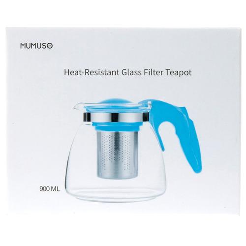 tetera de vidrio resistente al calor 900 ml - azul