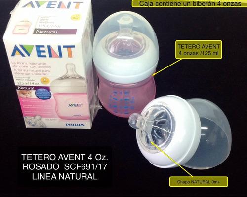 tetero avent natural 4 onzas color rosado anticolico sin bpa