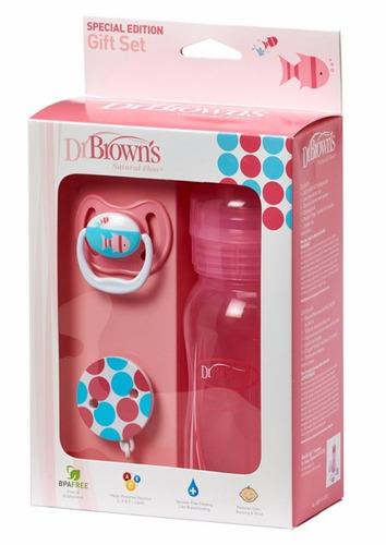 tetero boca ancha + chupo entretencion rosado dr browns