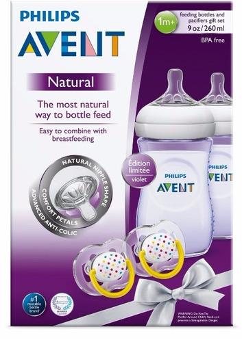 teteros avent natural violetas + 2 chupos - nuevo color