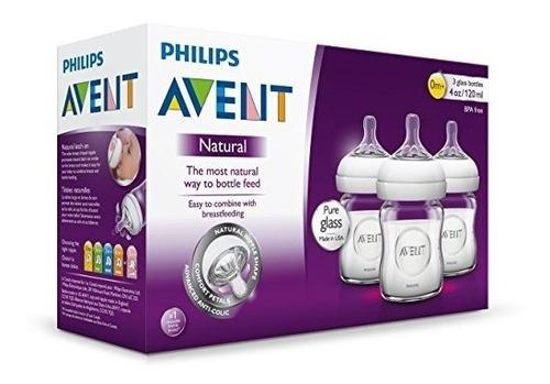teteros  bebé de cristal natural philips avent, 4 oz x3