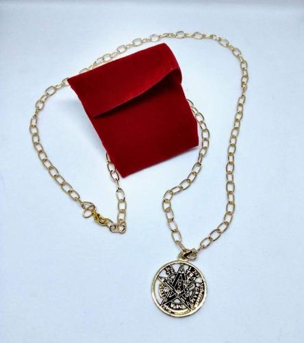 tetragamaton 7 elementos ritualizado chapa de oro cn cadena