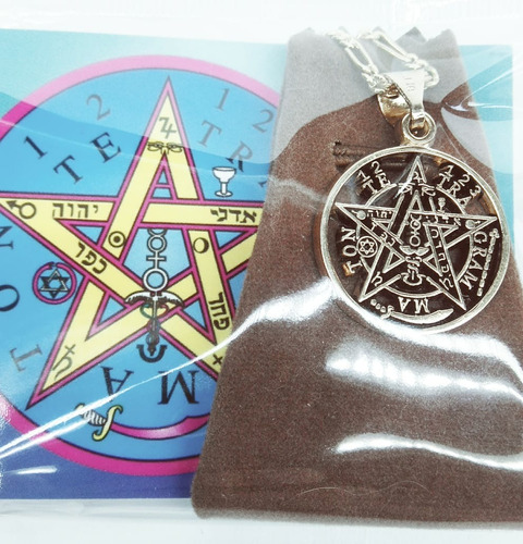 tetragramaton o pentagrama chapa de oro con cadena chapa