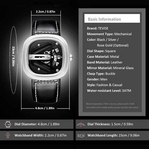 tevise t843b hombres reloj mecánico automático pantalla de