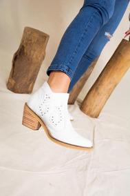 Texana Corta Cuero Blancas Mujer Zapatos 100% Calidad!!