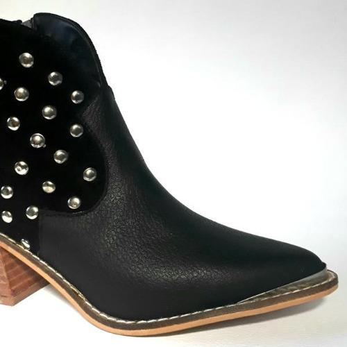 texanas botinetas botas de cuero vacuno con tachas!