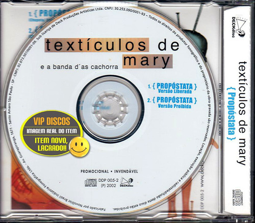 textículos de mary cd single propóstata 2 versões - lacrado