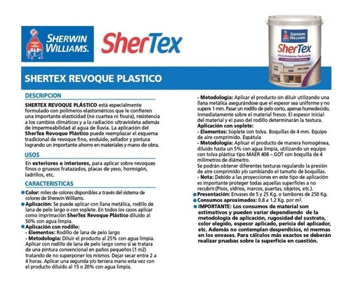 textura sherwin williams shertex revoque plástico 5 kg.
