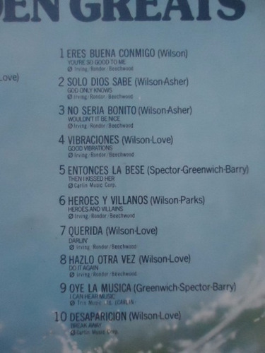 the beach boys / 20 golden greats vinyl lp acetato