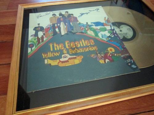 the beatles yellow submarine tapa lp firmada y disco de oro