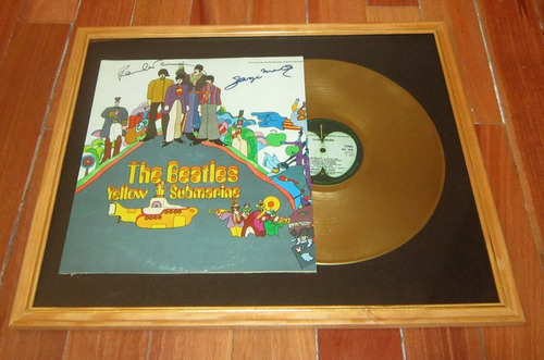 the beatles yellow submarine tapa lp firmada y disco de oro