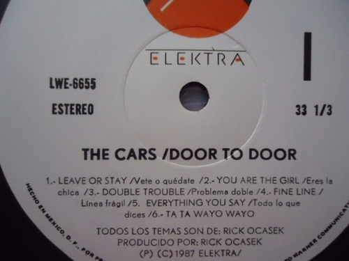 the cars / door to door vinyl lp acetato