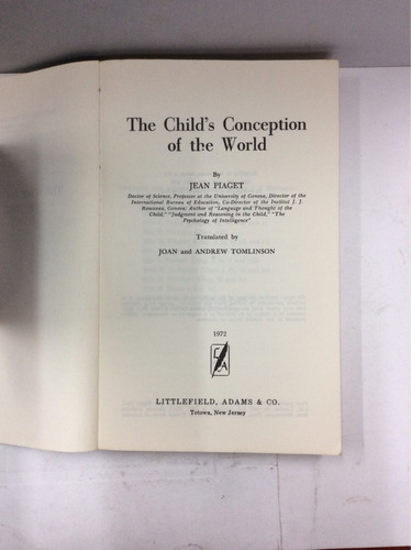 the child's conception of the world, jean piaget