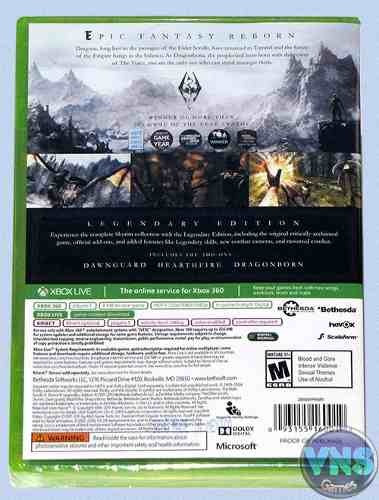 the elder scrolls v skyrim legendary edition -x360-  lacrado