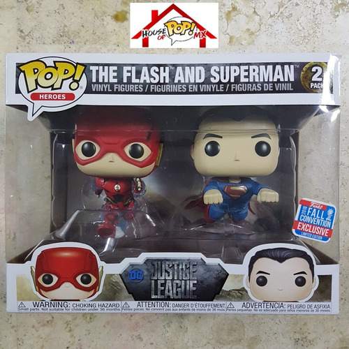 the flash and superman - justice league funko pop! exclus -l