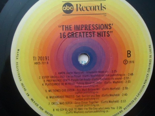 the impressions / 16 greatest hits vinyl lp acetato