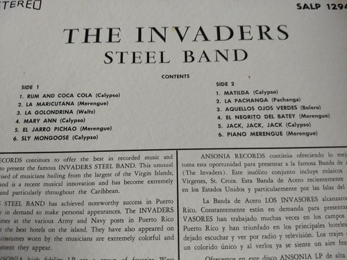 the invaders steel band lp rum and coca cola imp. usa