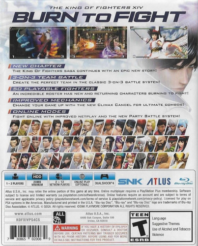 the king of fighters xiv playstation 4 ps4 nuevo