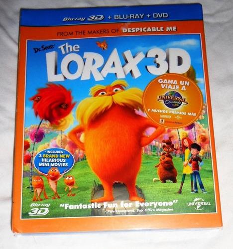 the lorax pelicula en  blu-ray 3d + blu-ray + dvd