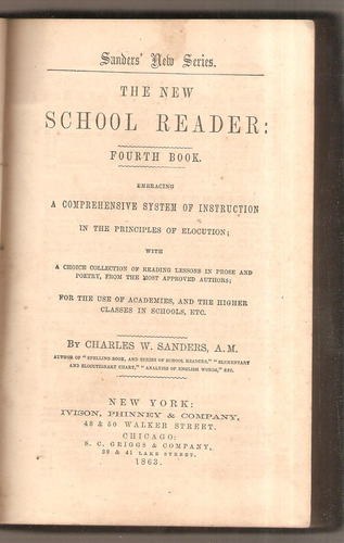 the new school reader: fourth book-ch. sanders n.y 1863