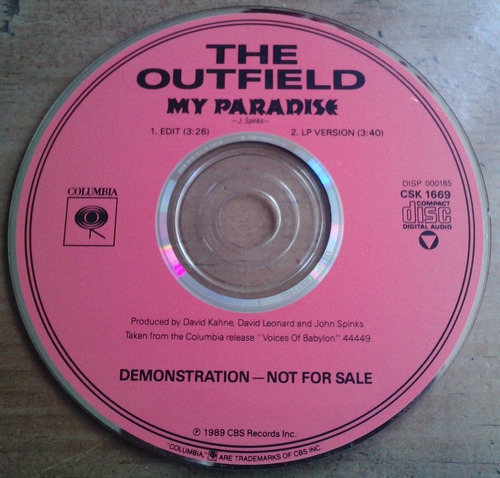 the outfield my paradise cd single promo  hecho usa ed 1989