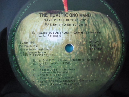 the plastic ono band live peace in toronto vinyl lp acetato