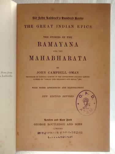 the ramayana and the mahabharata. john campbell oman. ingles