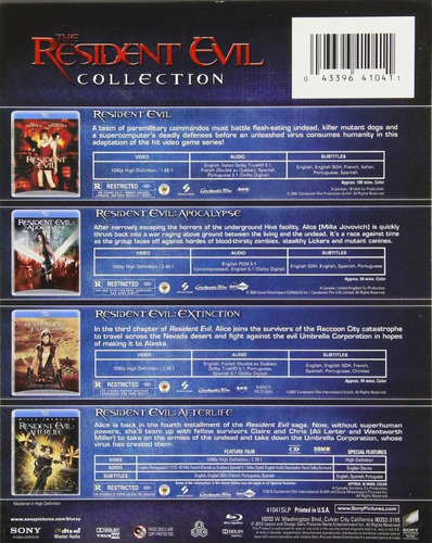 the resident evil 4 film collection boxset blu-ray