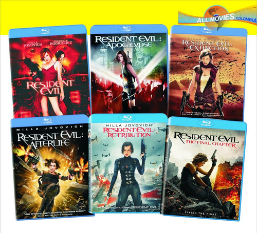 the resident evil pack completo 1-6 blu-ray (6 películas)