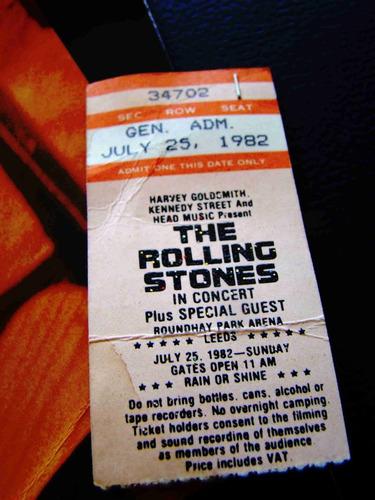 the rolling stones ticket & programa gira europa 1982