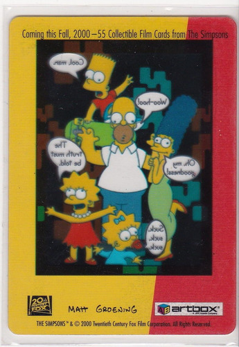 the simpsons promo filmcard artbox 2000 amer nuclear family