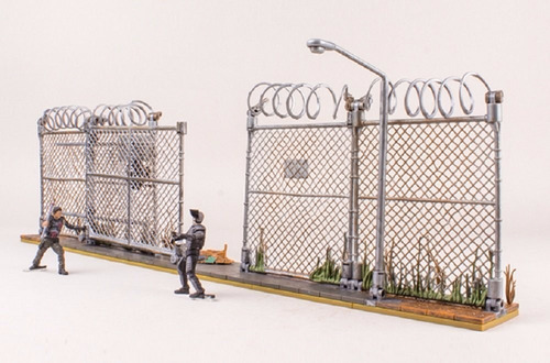 the walking dead - prison gate & fence - set para armar